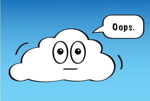 a cloud that says oops.