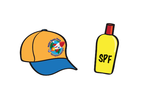 an illustration of a hat and a bottle of sunscreen.