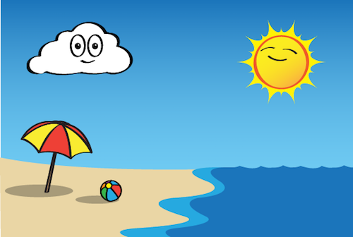 an illustration of a beath with an umbrella, beach ball, and the Sun shining in the sky.