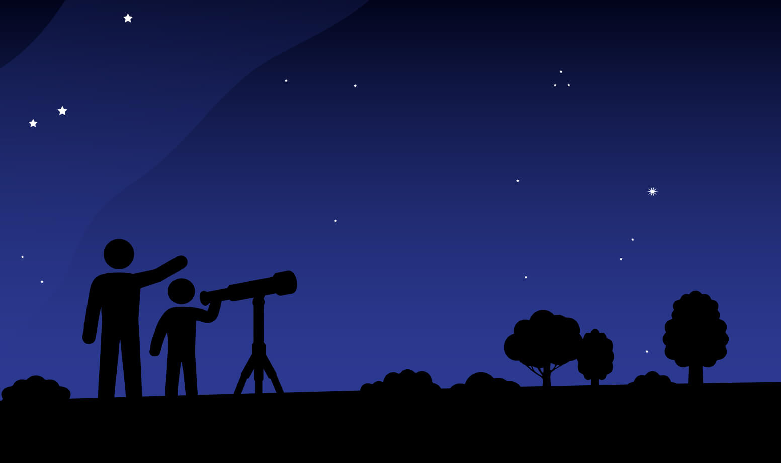Illustration of the silhouettes of stargazers with a telescope.