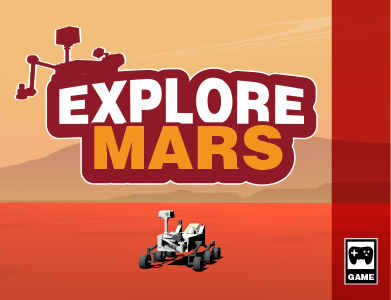 Game box art for the game Explore Mars. A Mars rover is in the middle of a Mars landscape.