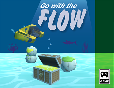 Game box cover for the game Go With the Flow. It features a submarine, some rocks, and a treasure chest in an underwater environment with the logo for the game Go With the Flow.