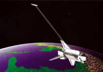 Artist's rendering, Space Shuttle with SRTM radars flies above Earth.