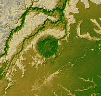 Topography of crater in Bolivia.