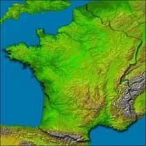 Topografía de Francia hizo con los datos SRTM.