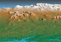 Topografía de la península de Kamchatka.