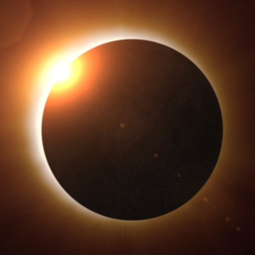 Illustration of moon covering sun in a solar eclipse
