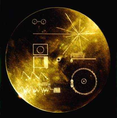 A photo of the golden record that was sent into space on both Voyager 1 and Voyager 2.