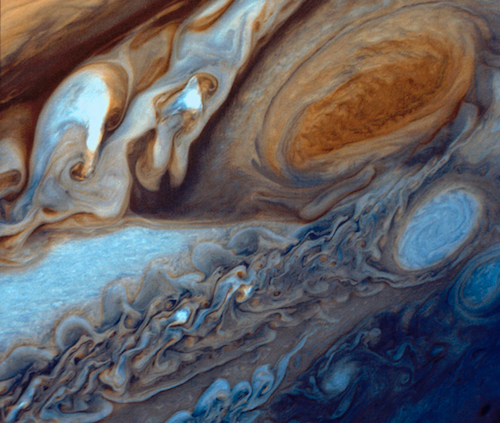 Image of storms on Jupiter taken by the Voyager 1 spacecraft.