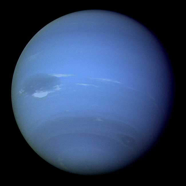 An image of Neptune taken by the Voyager 2 spacecraft.