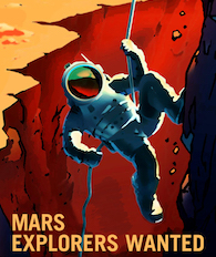 Illustrated poster of astronaut rappelling off a Martian cliff
