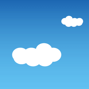 illustration of blue sky with two white clouds