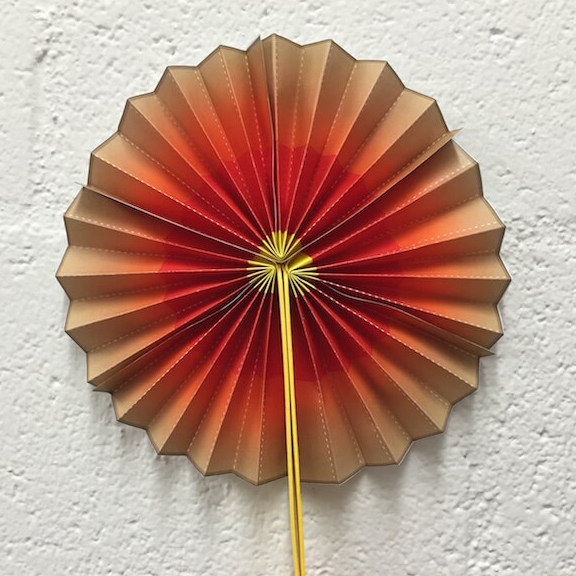 a photo of a paper fan that shows Earth's layers