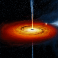 an illustration of a black hole in the center of a galaxy