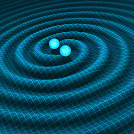 an illustration of two black holes merging to create a gravitational wave